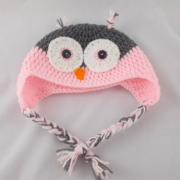 Newborn-Adult sizes / Crochet owl hat / Crochet earflap hat / Crochet hat / Crochet beanie / Owl / Earflap hat