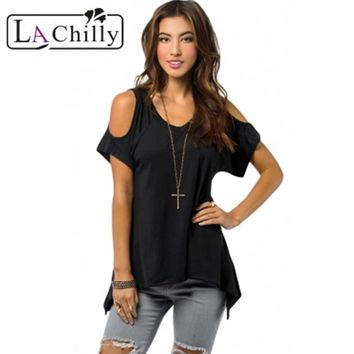 La Chilly Women Blouse 2017 New T-shirt Top Tees Women's Casual Style Army Green V Neck Cold Shoulder Swing Top LC25790