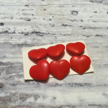 Six Red Heart Vintage Shank Buttons . Heart Button . Novelty Button . Red Buttons .