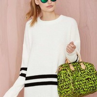 On the Line Waffle Sweater - White