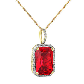 Red Ruby CZ Pendant 14k Gold Finish Iced Out Hip Hop Rick Ross Steel Box Chain
