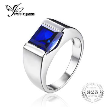 JewelryPalace Square 3.4ct Men's Blue Sapphire Ring Genuine 925 Sterling Sliver Fashion Party High Quality Gemstone Fine Jewelry