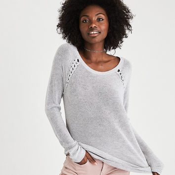 AEO Shoulder-Stitch Sweater, Heather Gray