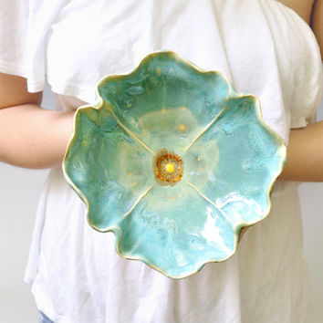 pottery bowl Poppy Bowl  ceramic soup bowl or salad size by MarciG