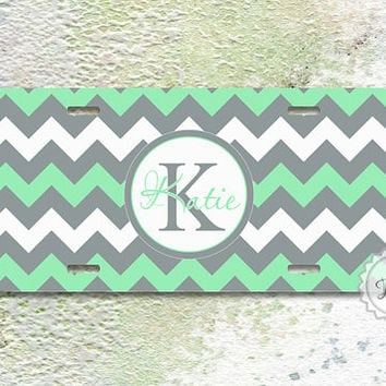 Monogrammed license plate - Mint green grey chevron with your initials and name on car tag