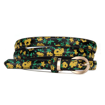 Slim Floral Print Belt in Yellow