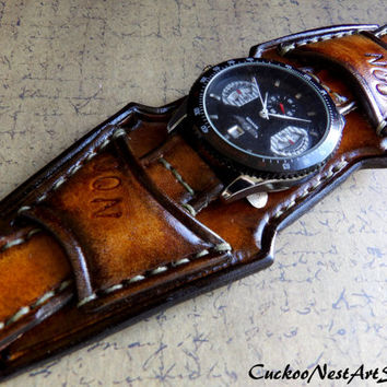 Leather Watch Cuff, Men's Leather Watch, Vintage style Wrist Watch,  Bracelet watch, Leather Strap,