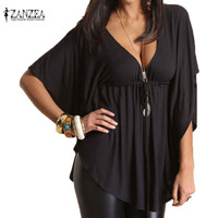 Hot Summer Blusas Femininas 2016 Women Casual Loose Sexy V-Neck Batwing Sleeve Tee Tops Ladies Solid Blouses Shirt Plus Size