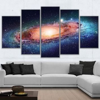 Pictures Home Decoration Posters Frame Living Room 5 Piece/Pcs Galactic Galaxy Landscape Modern Wall Art HD Printed Painting