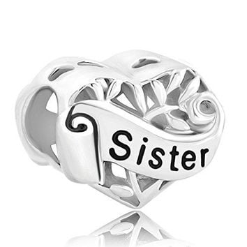 LovelyJewelry Sister Heart Sterling Silver I Love You Filigree Tree Of Life Charms For Bracelet