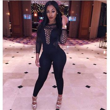 LMF78W Black Mesh Bandage Bodycon Jumpsuit Women 2016 Winter Autumn Hollow Out Long Sleeve V-neck Skinny Rompers Bodysuit Full Pants