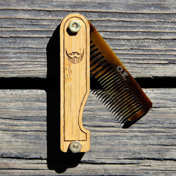 Personalized Handmade Folding Wood Beard Comb