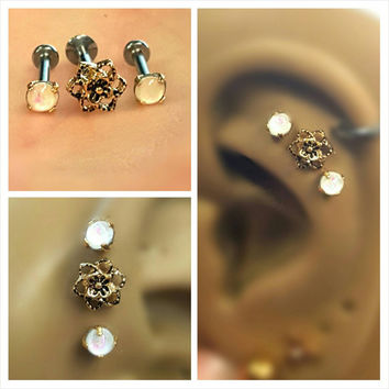 Gold Vintage Rose Opal Tragus Cartilage Earring Ring Forward Helix Triple Stud 16g Piercing Bar Barbell Surgical Steel 316L Bioplast Jewelry