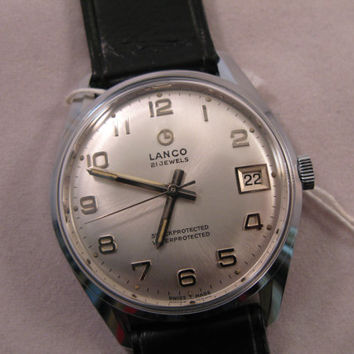 Vintage rare Lanco Swiss watch 442 21j NIB with tags men's wristwatch - Gift for him -Anniversary gift