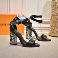 LV Louis Vuitton Women's Leather Silhouette High-heeled Sandals