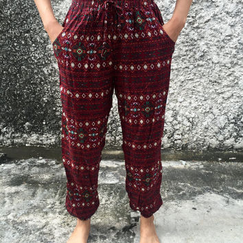 Aztec Slim cut Boho Yoga Pants Hippie festival Style Gypsy Women Clothing for Summer exercise Trousers Slim legs Bohemian Thai red maroon
