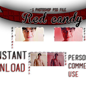 "Photoshop PSD Coloring File Instant Download Photo Effects Actions American Horror Story Inspired ""Red Candy"""