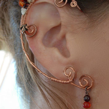Pair of Copper Lower Chakra Elf Ear Cuffs with genuine gem stone Accents, Renaissance, Elven, Hobbit, Elf, Fantasy Ear Wraps
