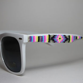 beaded sunglasses tribal design xl wayfarers by brownbeadednet