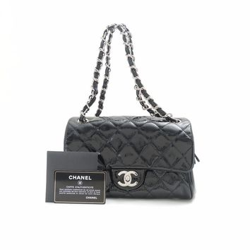 Authentic CHANEL enamel Matelasse Shoulder Bag