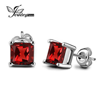 JewelryPalace Square 0.9ct Natural Garnet 925 Sterling Silver Stud Earrings Plata 925 Vintage Brand Bijoux cc crystal earrings