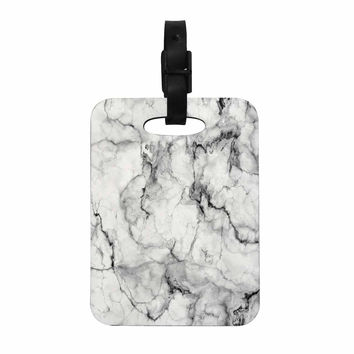 "Chelsea Victoria ""Marble No 2 "" Black Modern Decorative Luggage Tag"