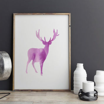 Deer Print Instant Download Printable Art Wall Decor Nursery Art Digital Art Abstract Deer Print Watercolor Deer