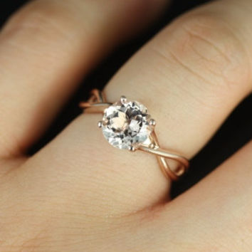 Original Erika 14kt Rose Gold Round Morganite Double Twist Engagement Ring (Other metals and stone options available)