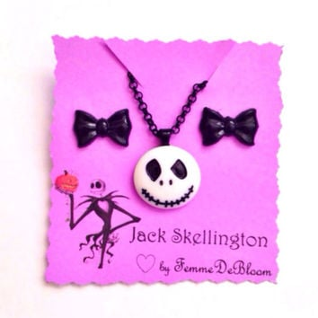 Handmade Jack Skellington Inspired Necklace and Black Bow earring set - Nightmare Before Christmas inspired jewelry