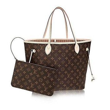Louis Vuitton Monogram Canvas Beige Neverfull MM M40995 Two piece And Key pouch-Coin purse F