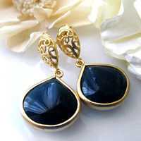 Midnight Blue Dangle Earrings, Blue Bezel Earrings, Monaco Blue Gold Dangles, Dark Blue Earrings, Blue Drop Earrings, Blue Teardrop Earrings