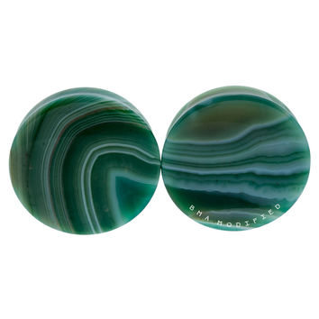 "1 7/8"" (47mm) Green Line Agate Stone Flat #7496"
