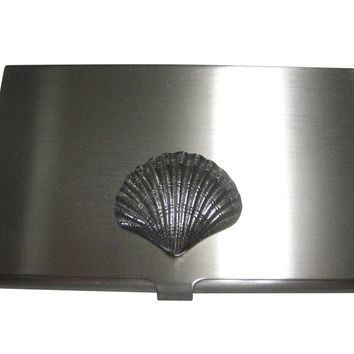 Silver Toned Detailed Sea Shell Business Card Holder
