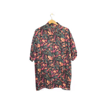 90s mens SILK shirt / vintage 1990s / wild floral pattern /  robert stock / L - XL