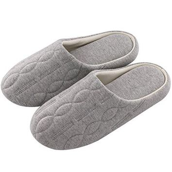 Womens Comfort Quilted Cotton Memory Foam Slipper Non Slip House Shoes wElegant Embroidery