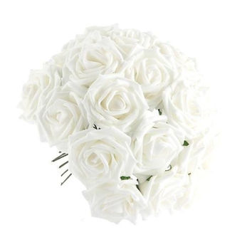 50 Artificial White Rose Silk Flower Home Party Bride Wedding Decoration = 1929297924