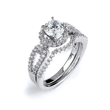Split Shank 4 Prong 1 Carat Cubic Zirconia Engagement Ring with Curved Matching Band