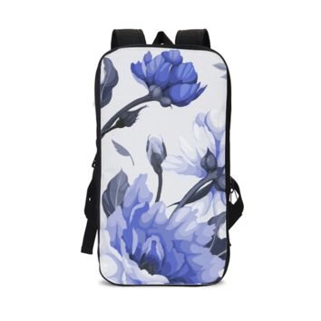 CS - White and Periwinkle Blue Flowers Slim Tech Backpack