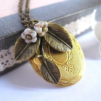 Autumn Fall Country Inspired Brass Locket with Leaves and Flowers. Rustic Shabby Chic VIntage Style Necklace