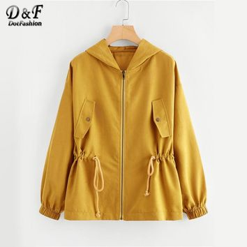 Dotfashion Zipper Button Pocket Drawstring Waist Hooded Ginger Jacket Female 2018 Autumn Zip Up Hoodie Weekend Casual Plain Coat