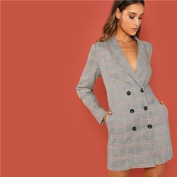 Grey Elegant Office Lady Shawl Collar Double Breasted Plaid  Long Sleeve Coat 2018 Autumn Workwear Women Coats Outerwear