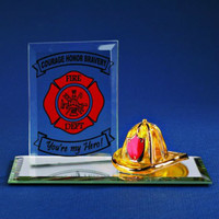 "Glass Baron Firefighter ""My Hero"" Plaque With Figurine"