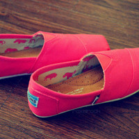 Bright Pink Hand Painted TOMS Shoes by ThePinkPeople on Etsy