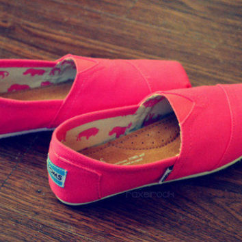Bright Pink Hand Painted TOMS Shoes