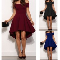 2016 Winter Hot Fashion Slash Neck Ball Gown Dress Woman Sexy