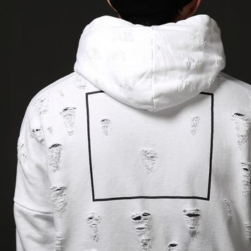 Mens Destroyed Contrast Sleeve Hoodie at Fabrixquare
