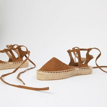 South Beach Tan Ankle Tie Espadrilles at asos.com