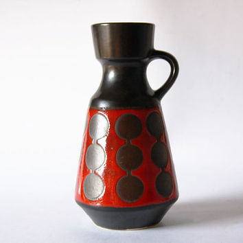 Vintage Rare German Black / Red Vase Circles Pattern - Schlossberg Keramik Pottery 70s