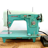 Vintage sewing machine White brand turquoise blue by beautyfound