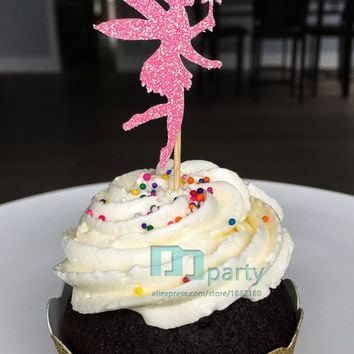 Glitter Pink Fairy Cupcake Toppers Birthday Cupcake Toppers Baby Shower Cupcake Toppers Food Picks